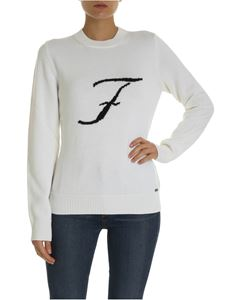 Fay - White pullover with F logo