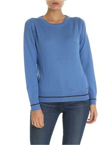 Fay - Light blue pullover with lamé inserts