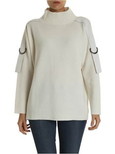 Lorena Antoniazzi - Ivory-colored pullover with buckle