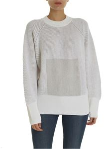 Lorena Antoniazzi - Ribbed pullover in beige and ivory color