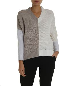 Lorena Antoniazzi - Pullover in white and dove grey color