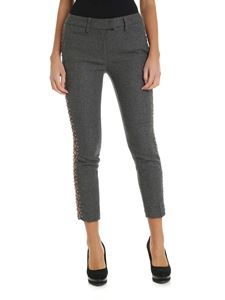 Dondup - Grey trousers with jeweled bands