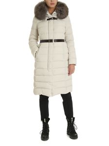 Moorer - Long down jacket in ivory color