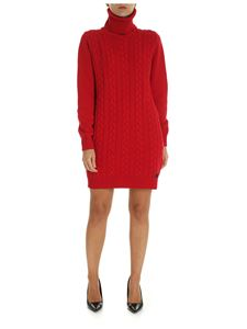 be Blumarine - Red turtleneck dress with braids pattern