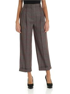 Max Mara Studio - Street burgundy trousers with checked pattern