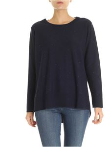 Kangra Cashmere - Blue pullover with micro-sequins