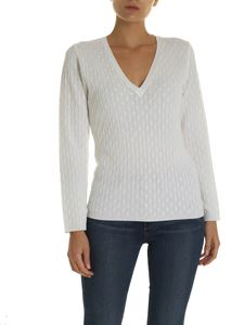 Kangra Cashmere - White pullover with braid pattern