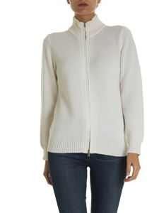 Kangra Cashmere - Cardigan with zip in ivory color