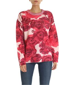 Blumarine - Pink pullover with floral pattern