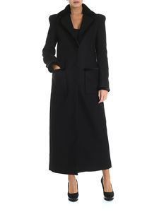 Blumarine - Black coat with fur details