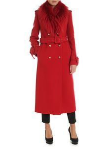 Blumarine - Red coat with fox fur