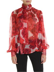 Blumarine - Pink blouse with red floral pattern