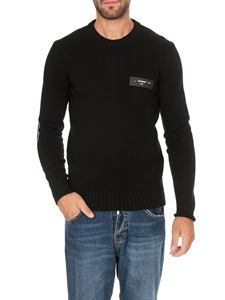 Off-White - Pullover girocollo Logo Knit nero