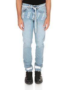 Off-White - Jeans Slim Denim Bleach Nikel azzurri
