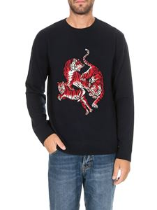 Valentino - Pullover in navy blue with Go Tiger intarsia