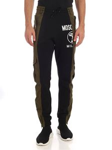 Moschino - Black sweatpants with green inserts