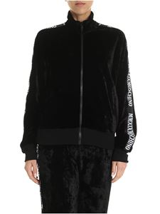 Moschino - Black velvet sweatshirt with branded side bands