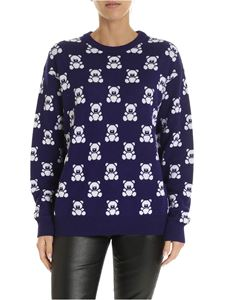 Moschino - Teddy Bear jacquard pullover in blue and white