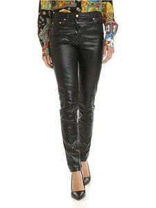 Moschino - 5-pocket black laminated trousers