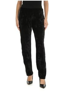 Moschino - Black velvet trousers with branded side bands