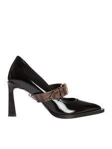 Fendi - FFrame pumps in black patent technical neoprene