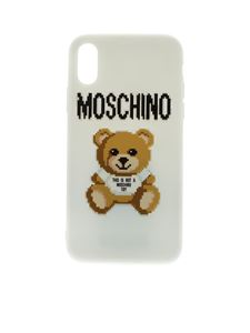 Moschino - Cover bianca con stampa Pixel Teddy Bear