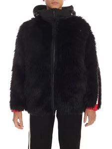 Moncler Grenoble - Eco-fur in black with colored stripes
