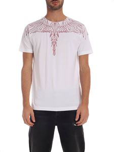Marcelo Burlon - White T-shirt with Red Wings print