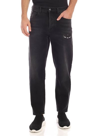 Marcelo Burlon County Of Milan - Black jeans with Wings patch