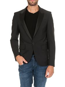 Dondup - Black single-breasted blazer with satin lapels