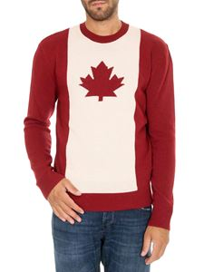 Dsquared2 - White and red pullover with logo intarsia