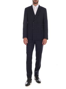 Emporio Armani - Double-breasted suit in dark blue with check print