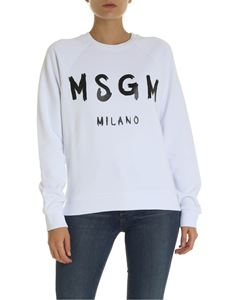 MSGM - White sweatshirt with MSGM brushed logo print