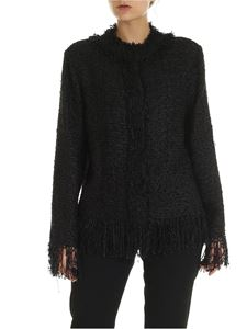 MSGM - Black bouclé jacket with fringed detail