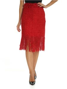 MSGM - Red bouclé skirt with fringed detail