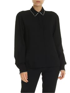 MSGM - Black shirt with rhinestone details