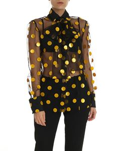 MSGM - Black shirt with yellow polka dots