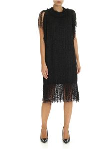 MSGM - Black sleeveless dress with fringed detail