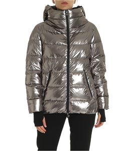 Herno Laminar - Silver quilted hooded jacket
