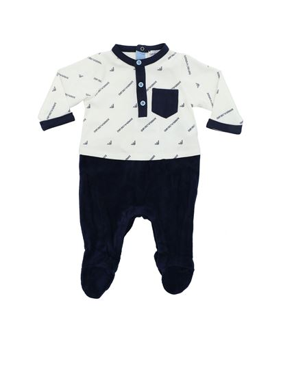 Emporio Armani - White and blue romper suit with chenille trousers