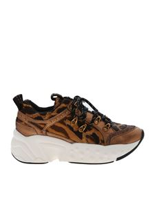 DKNY - Avi brown sneakers with animal pattern