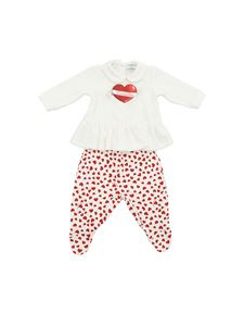 Monnalisa - White and red romper suit with hearts print
