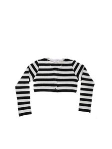 Monnalisa - Striped crop cardigan in black and white