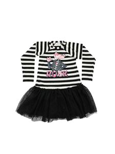 Monnalisa - Striped dress with tulle skirt