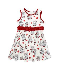 Monnalisa - White dress with bears and hearts print