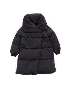 Monnalisa - Black down jacket with shawl neckline