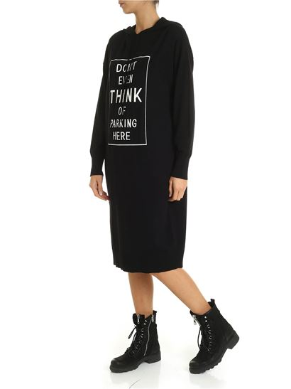 DKNY - MTA knit dress in black with jacquard detail