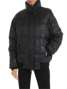 DKNY - Down jacket with logo prints in black