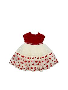 Monnalisa - Red and white dress with embroidered hearts