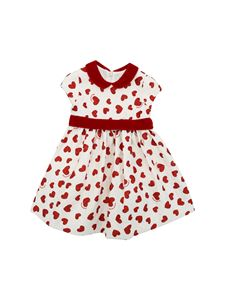 Monnalisa - White dress with red hearts print